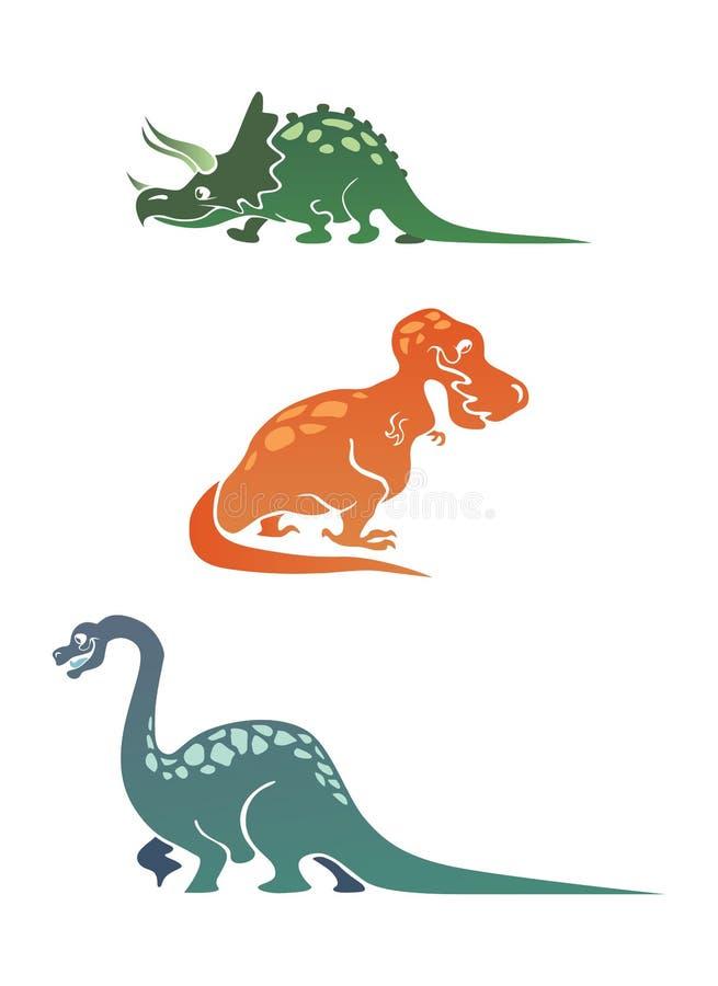 De kleurrijke inzameling van beeldverhaaldinosaurussen stock afbeelding