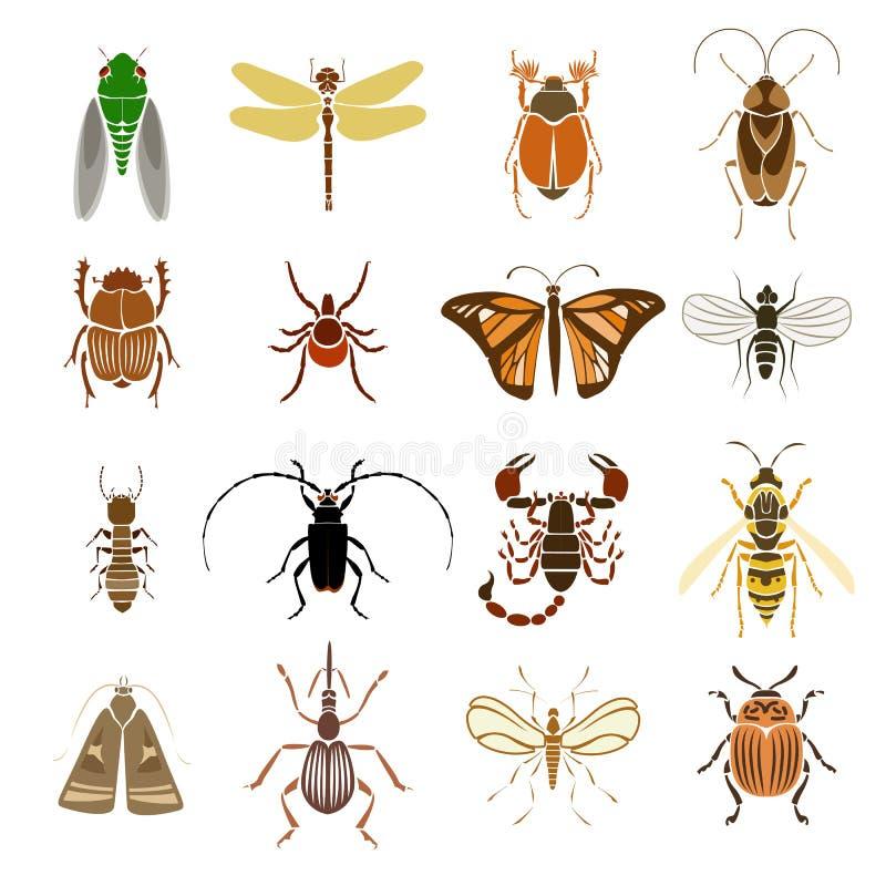 De kleurrijke Inzameling van Insectenpictogrammen vector illustratie