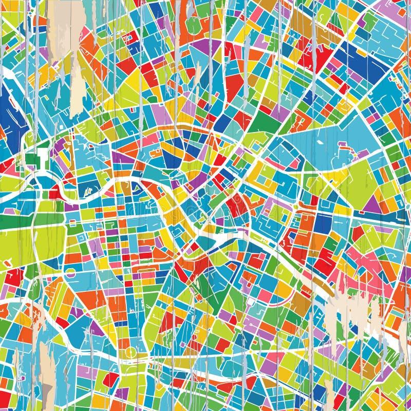 De kleurrijke kaart van Berlijn stock illustratie