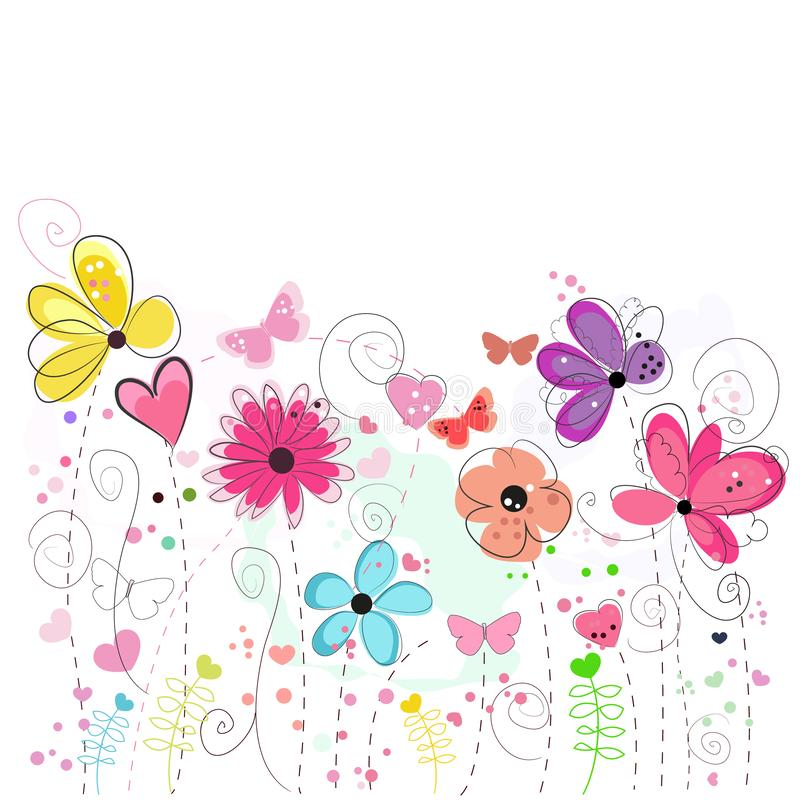 De kleurrijke kaart van de bloemgroet Bloemen decoratieve abstracte de lentebloemen van de groetkaart stock illustratie
