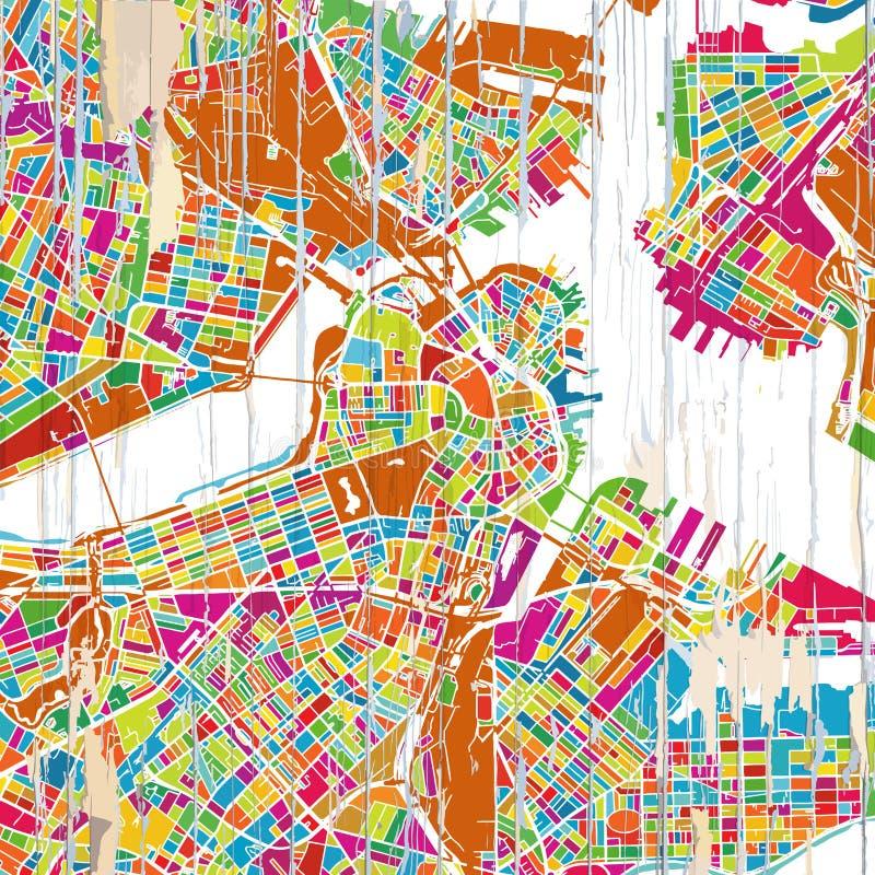 De Kleurrijke kaart van Boston royalty-vrije illustratie