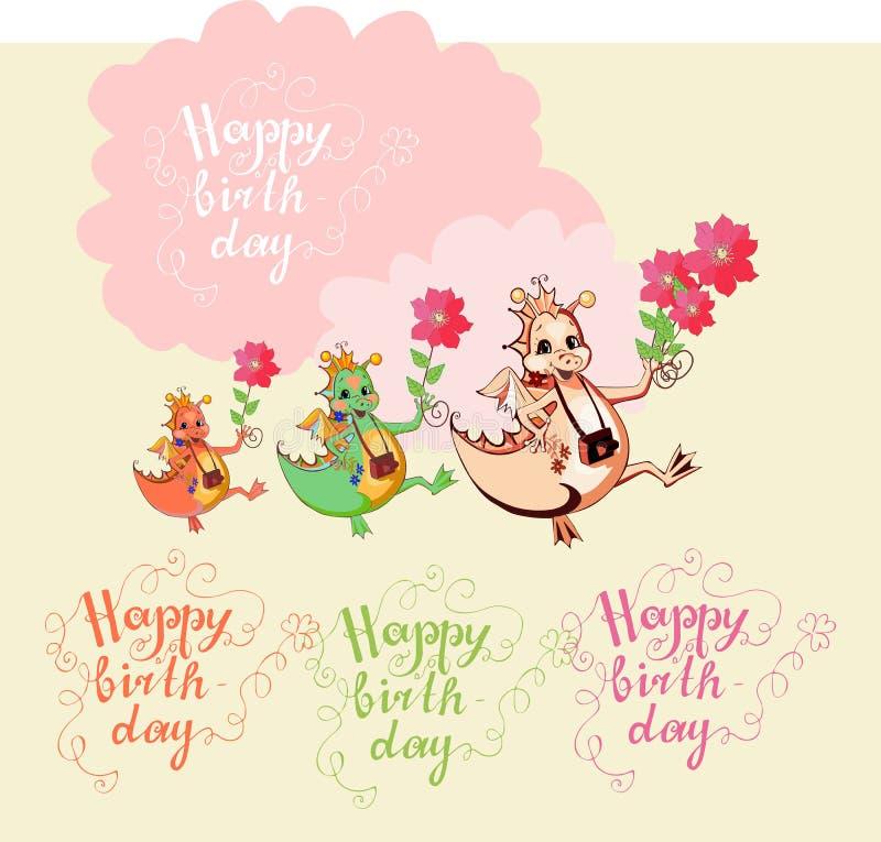 De kleurrijke kaart van de groet Gelukkige verjaardag Leuke draken met bloemen stock illustratie