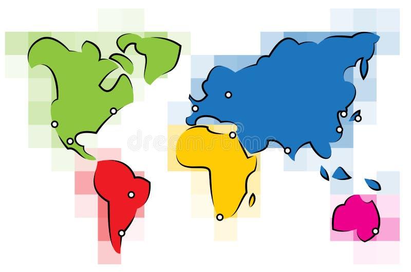 De kleurrijke Kaart van de Wereld royalty-vrije illustratie