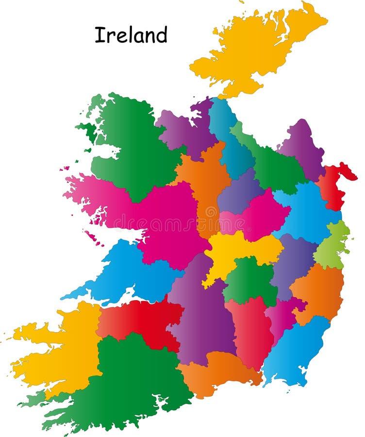 De kleurrijke kaart van Ierland stock illustratie