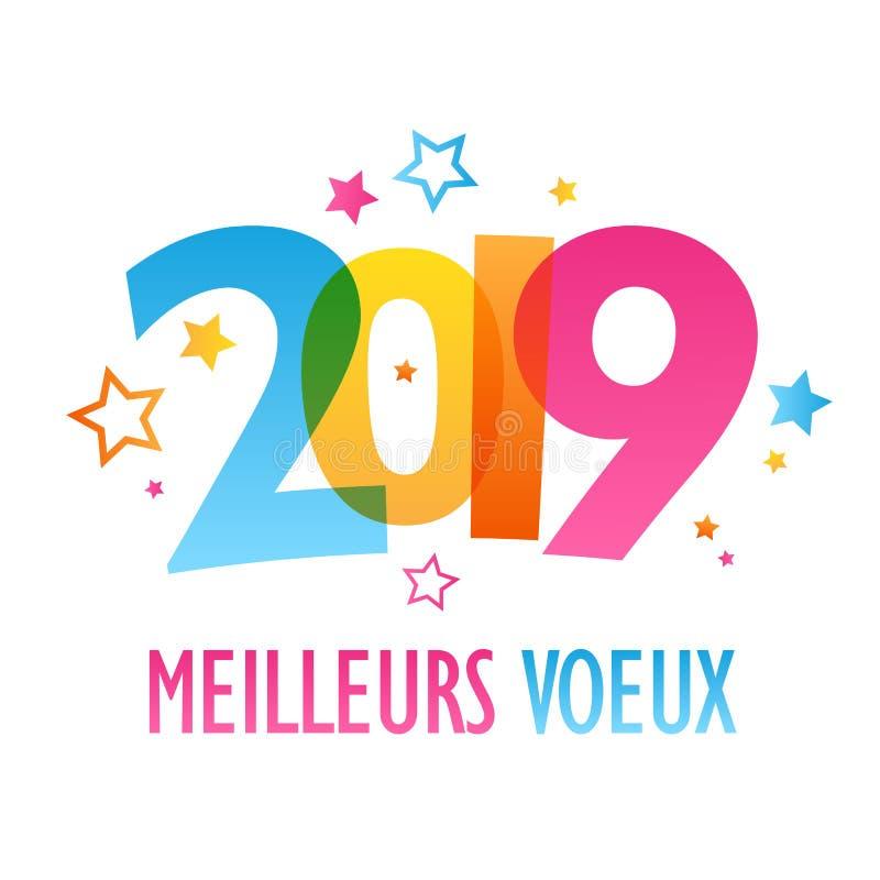 De kleurrijke kaart van MEILLEURS VOEUX 2019 stock illustratie