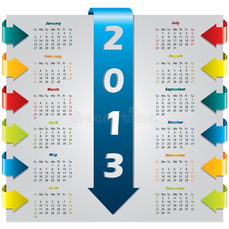 De kleurrijke kalender van het pijlontwerp stock illustratie