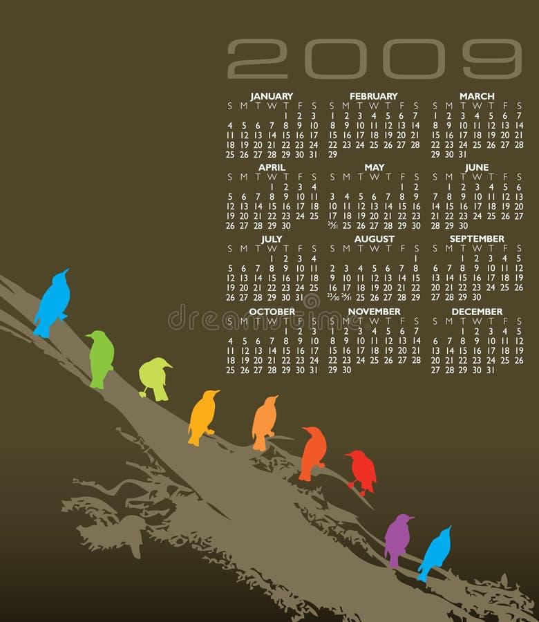 De kleurrijke Kalender van Vogels stock illustratie