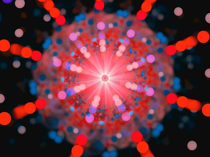 De kleurrijke kernsplitsing van de kernexplosie royalty-vrije illustratie