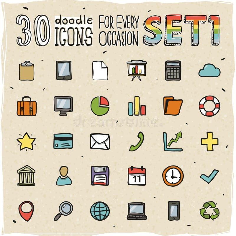 30 de kleurrijke Krabbelpictogrammen plaatsen 1 vector illustratie