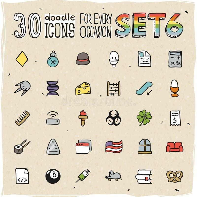 30 de kleurrijke Krabbelpictogrammen plaatsen 6 stock illustratie