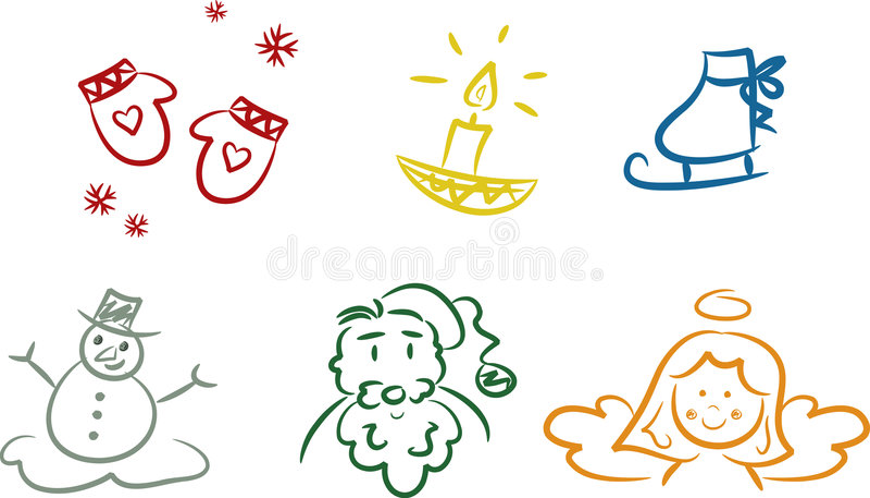 De kleurrijke Krabbels van Kerstmis royalty-vrije illustratie