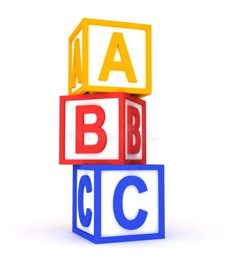 De kleurrijke kubussen van Abc op wit. vector illustratie