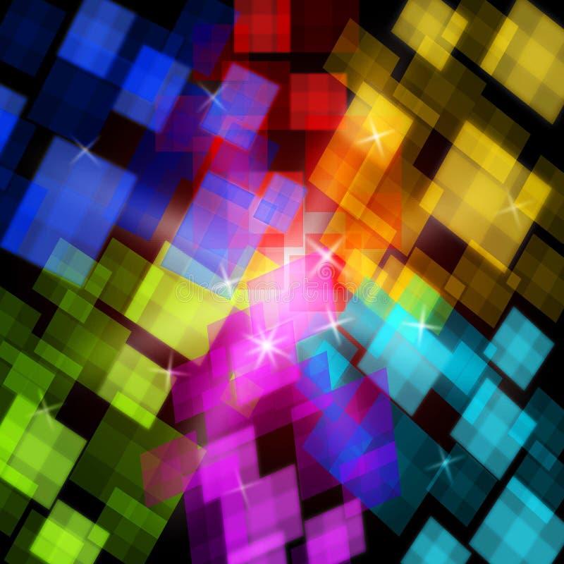 De kleurrijke Kubussenachtergrond toont Digitaal Art Or stock illustratie