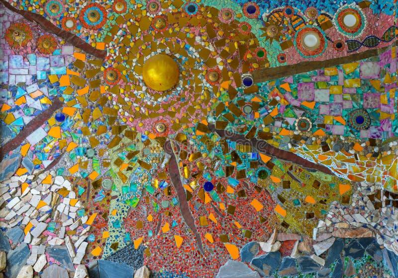 De kleurrijke kunst van het glasmozaïek, abstracte muurachtergrond. royalty-vrije stock afbeeldingen