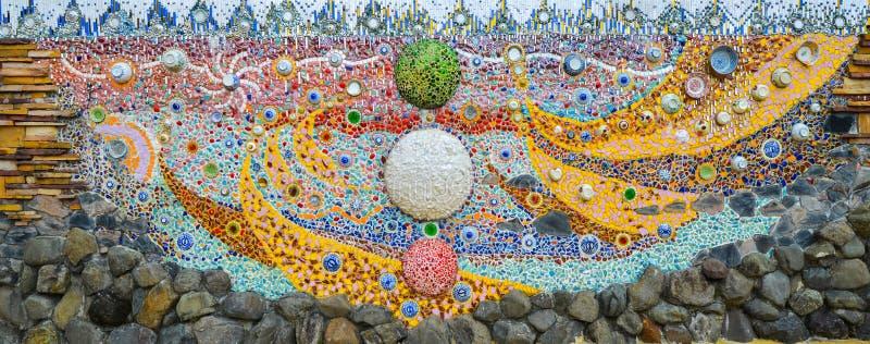 De kleurrijke kunst van het glasmozaïek, abstracte muurachtergrond royalty-vrije stock afbeelding