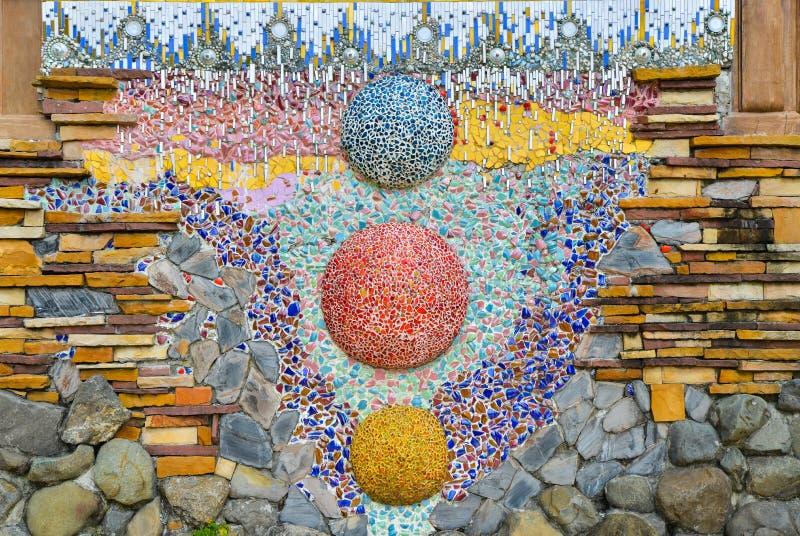 De kleurrijke kunst van het glasmozaïek, abstracte muurachtergrond royalty-vrije stock foto's