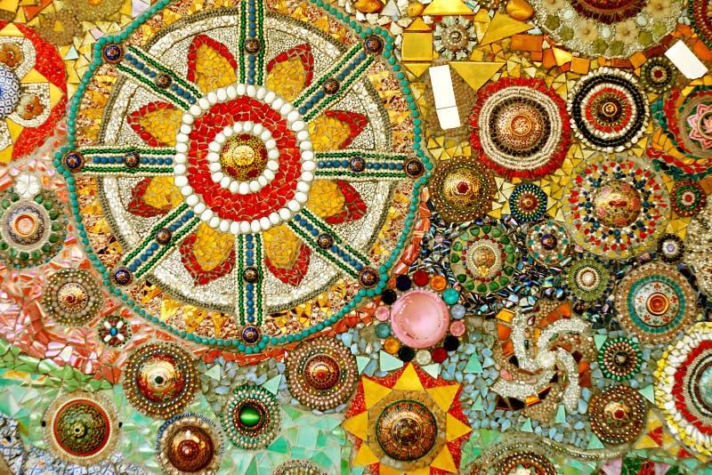 De kleurrijke kunst van het glasmozaïek en abstracte muur backgr royalty-vrije stock foto