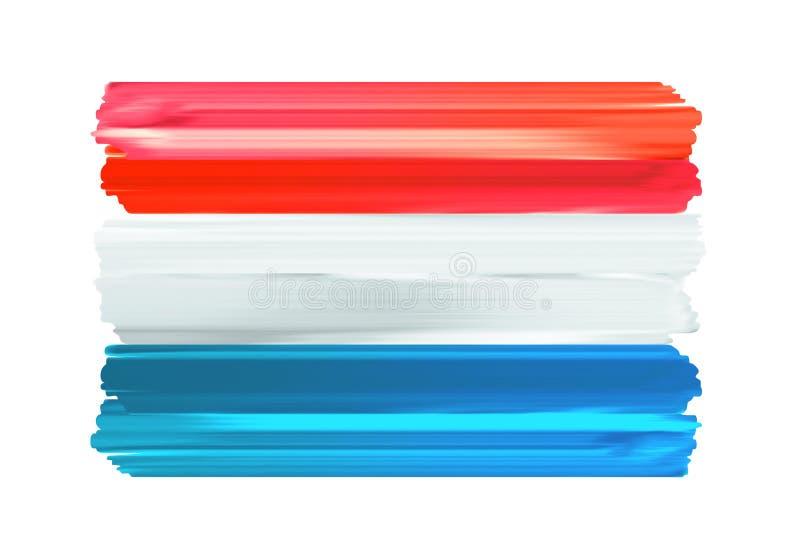 De kleurrijke kwaststreken geschilderde vlag van Luxemburg vector illustratie