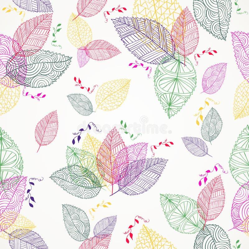 De kleurrijke Lente verlaat naadloos patroon stock illustratie