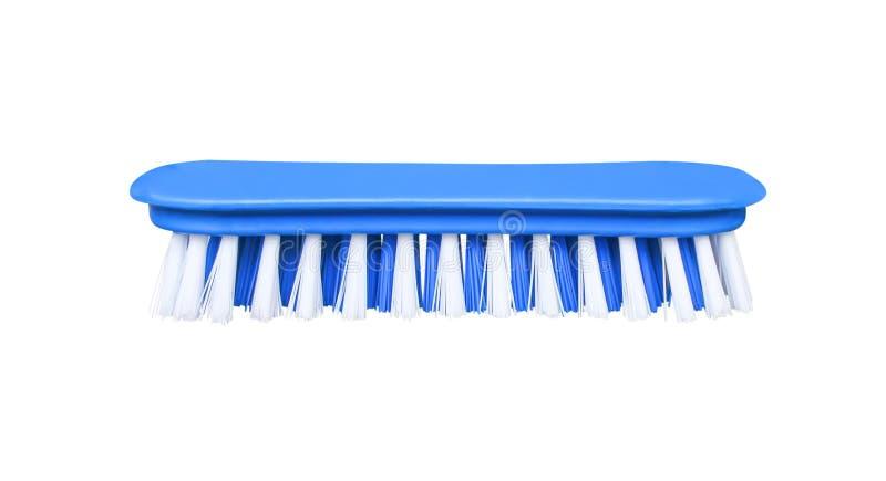 De kleurrijke lichtblauwe plastic borstel met blauw en wit varkenshaar isoleerde op witte achtergrond met het knippen van weg in  royalty-vrije stock afbeelding