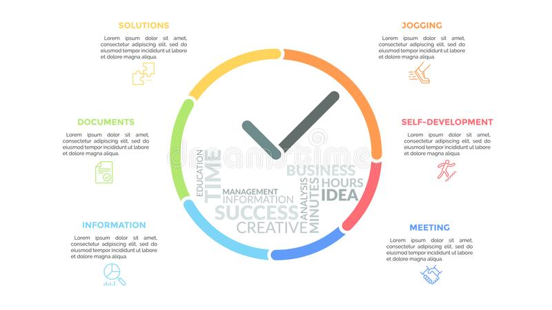 De kleurrijke lijnen die klok met handen en woordwolk binnen vormen het omringden door pictogrammen en tekstvakjes Concept tijd vector illustratie