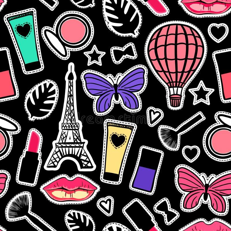 De kleurrijke manier ondertekent Naadloos patroon modern ontwerp De vectorstickers van de illustratie Abstracte textuur girly Het vector illustratie