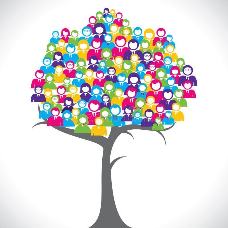 De kleurrijke mensen groeperen boom vector illustratie