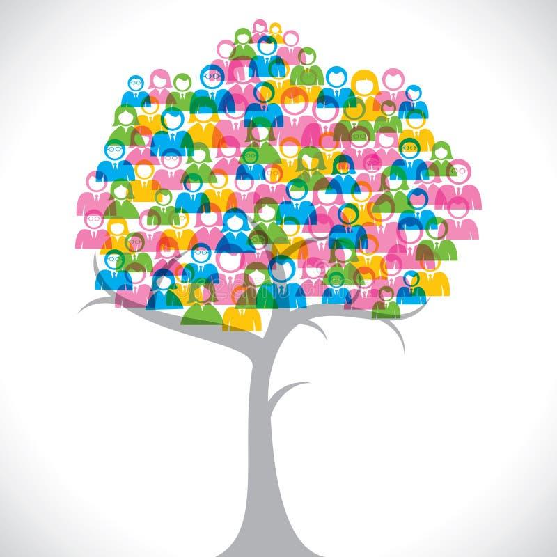 De kleurrijke mensen groeperen boom stock illustratie