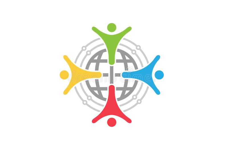 De kleurrijke Mensen groeperen Wereld Team Logo Design Illustration stock illustratie