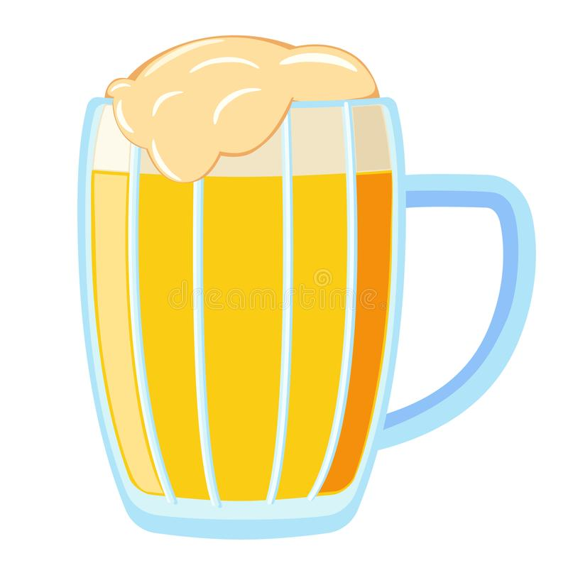 De kleurrijke mok van het beeldverhaal lichte bier stock illustratie