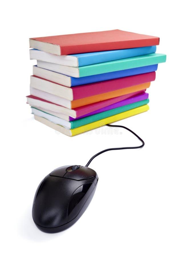 De kleurrijke muis van de boekencomputer stock foto