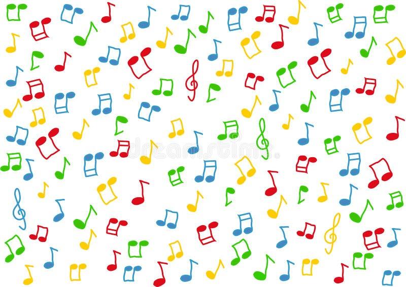 De kleurrijke muziek neemt nota van achtergrond vector illustratie