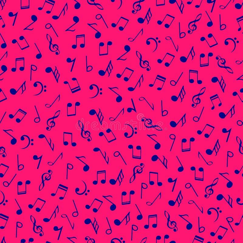 De kleurrijke muziek neemt nota van naadloos patroon Blauwe kleuren simbols op roze achtergrond Abstracte vectortextuur muzikale  stock illustratie