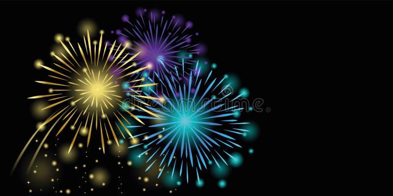De kleurrijke nieuwe viering van het jaarvuurwerk op een zwarte achtergrond vector illustratie