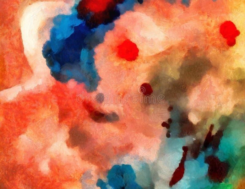 De kleurrijke olie en waterverfachtergrond voor het creëren van unieke producten en verfraait originele drukken Ruw mooi patroon  royalty-vrije illustratie