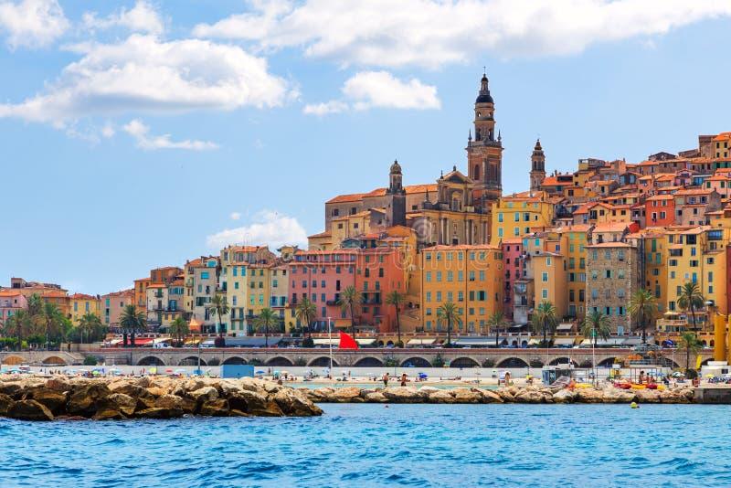 De kleurrijke oude stad Menton op Franse Riviera royalty-vrije stock afbeelding