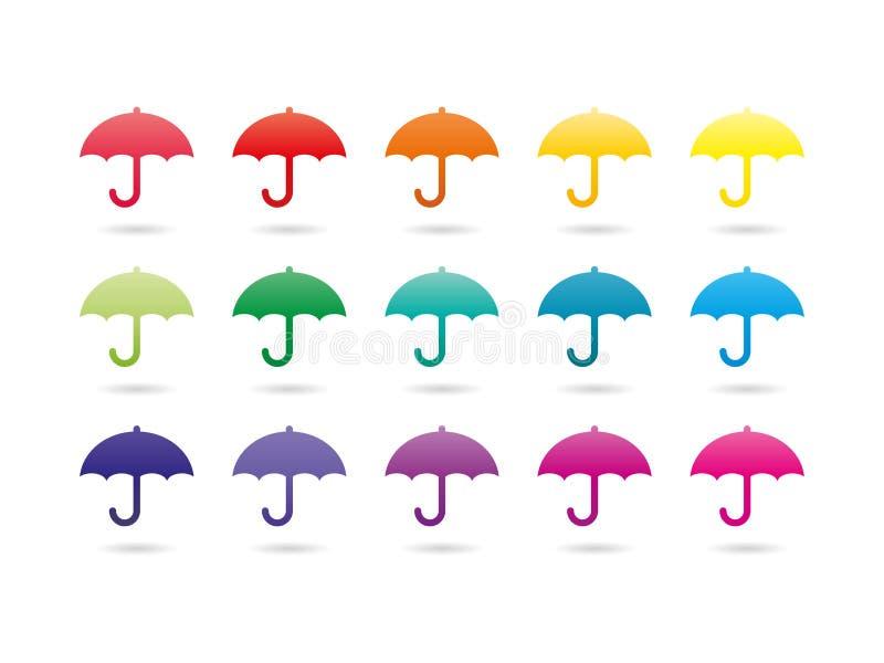 De kleurrijke paraplu's van het regenboogspectrum royalty-vrije illustratie