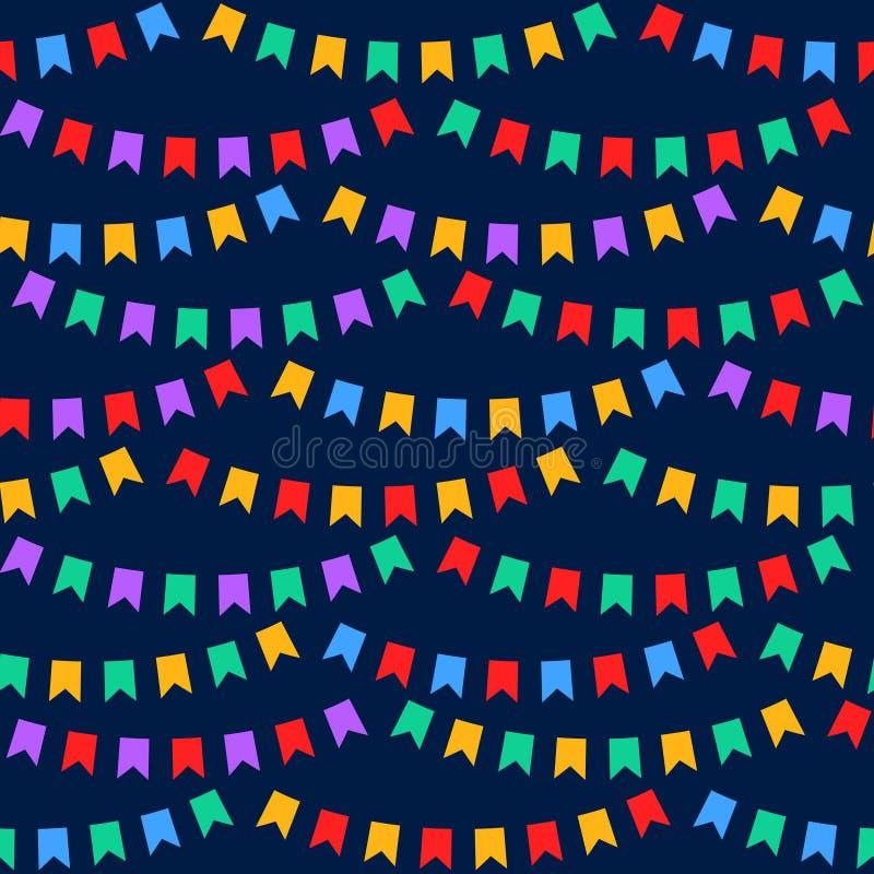 De kleurrijke partij markeert bunting op donkerblauw naadloos patroon, vector royalty-vrije illustratie