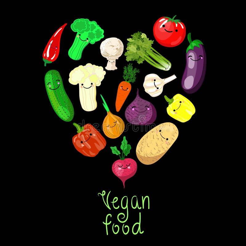 De kleurrijke pictogrammen van beeldverhaalgroenten in rond geïsoleerd op wit Vectorillustratie van verse organische plantaardige vector illustratie
