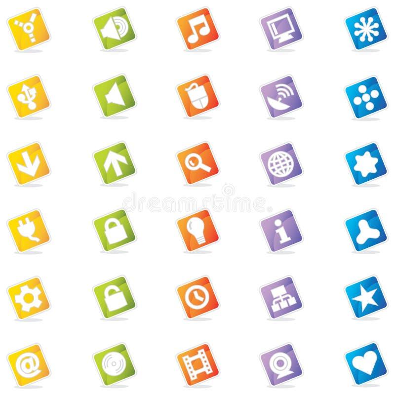 De kleurrijke Pictogrammen van het Web (Vector) stock illustratie