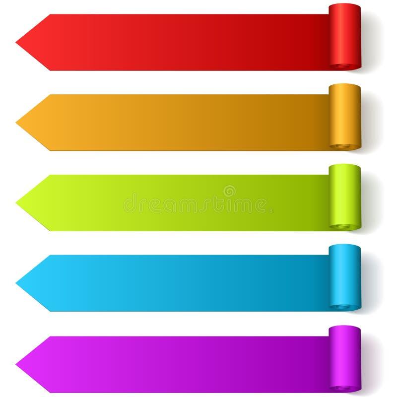 De kleurrijke pijl vormde etiketten vector illustratie