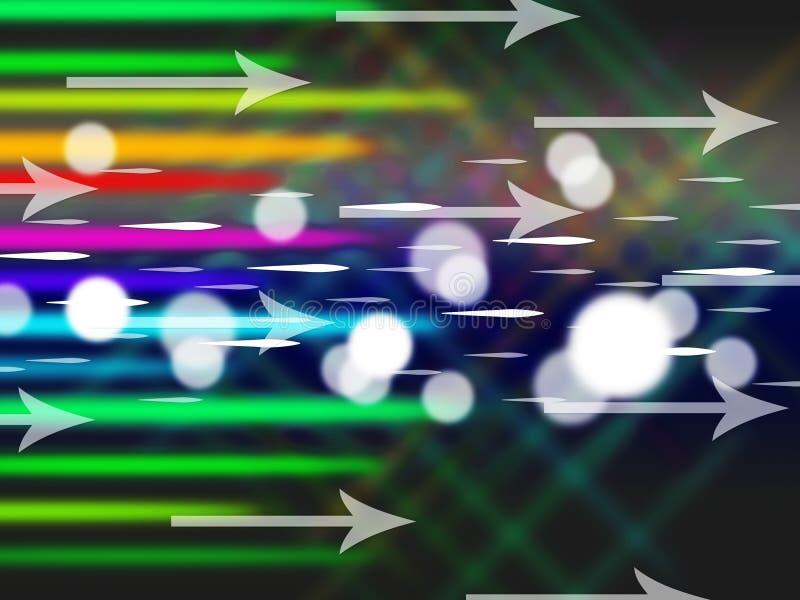 De kleurrijke Pijlenachtergrond betekent Netto Verkeer en Bytes vector illustratie