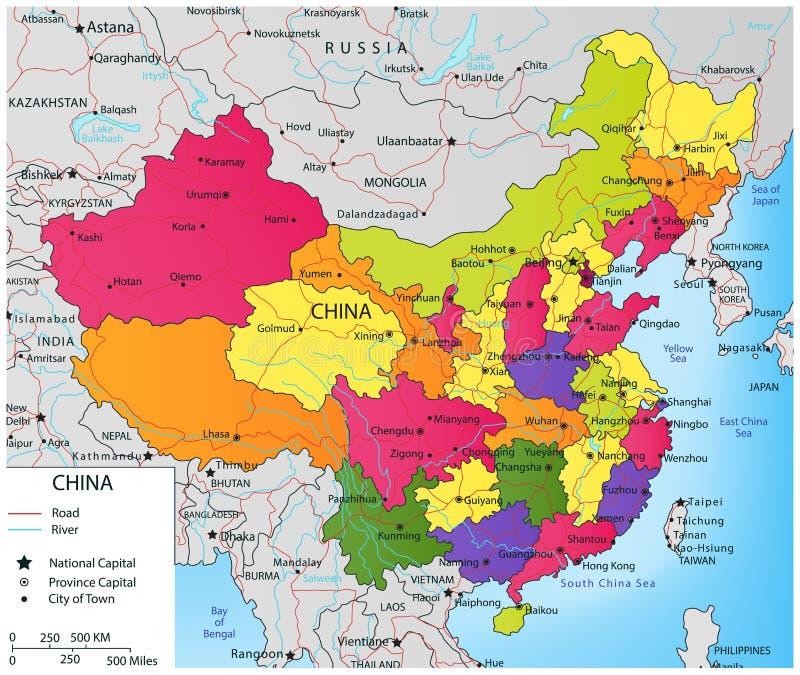De kleurrijke politieke kaart van China met verkiesbare gebieden Vector stock illustratie