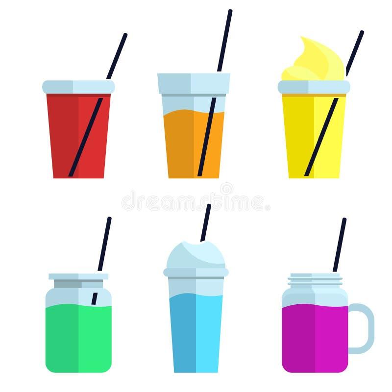 De kleurrijke Reeks smoothies Superfoods en de gezondheid of detox zijn voedselconcept in vlakke stijl vectorillustratie op dieet vector illustratie