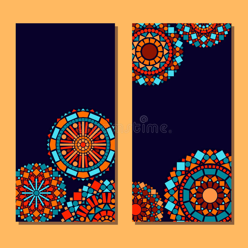 De kleurrijke reeks van cirkel bloemenmandala van kaartenachtergrond in blauw en sinaasappel, vector royalty-vrije illustratie