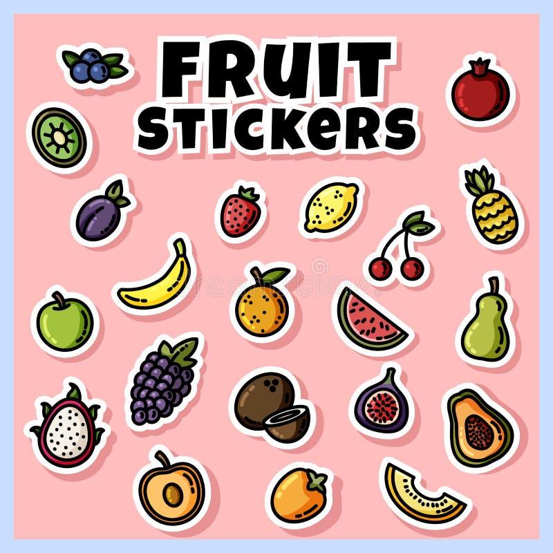 De kleurrijke reeks van fruitstickers Inzameling van fruit vlakke etiketten stock illustratie