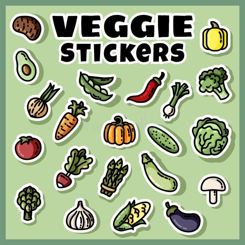 De kleurrijke reeks van groentenstickers Inzameling van veggie vlakke etiketten vector illustratie