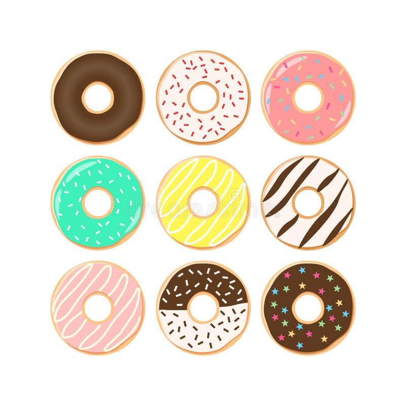 De kleurrijke reeks van het donutsbeeldverhaal De doughnuts met bestrooit, roze, chocolade, turkoois suikerglazuur clipart vector illustratie