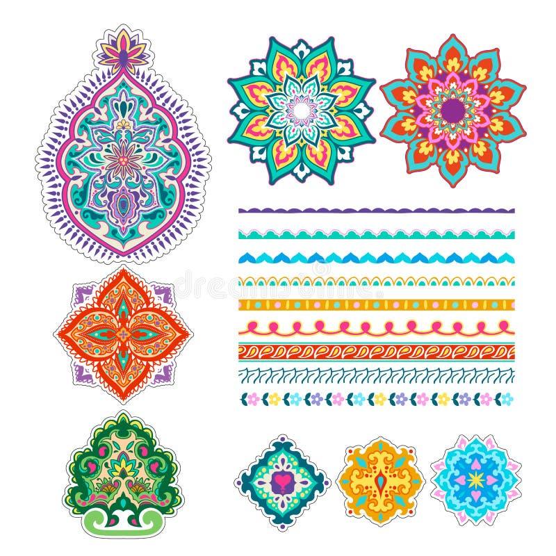 De kleurrijke reeks van tatoegeringsmehndi Decoratief ornamentOntwerp vector illustratie