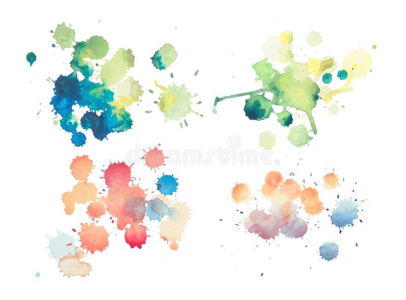 De kleurrijke retro uitstekende abstracte watercolouraquarelle verf van de kunsthand op witte achtergrond vector illustratie